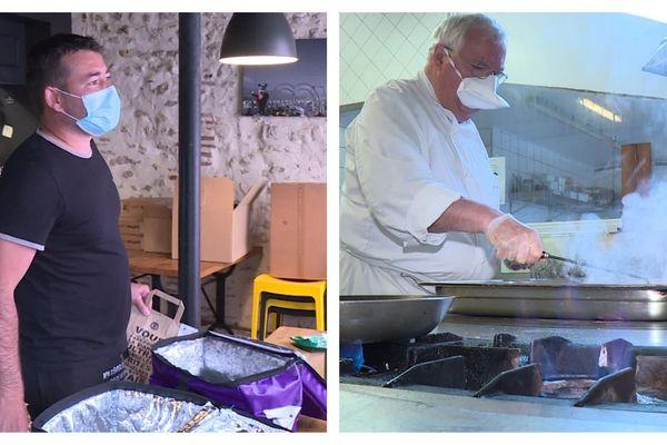 """Jérôme Da Cruz, propriétaire de """" Les Burgers du Boucher""""à Orléans et Eric Bouton, chef du restaurant La Laurendière à Olivet dans le Loiret"""