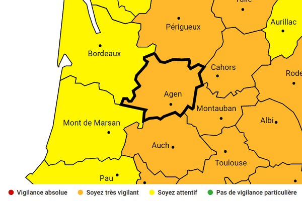En ex-Aquitaine, la Dordogne et le Lot-et-Garonne ont été placés en vigiance orange aux orages.