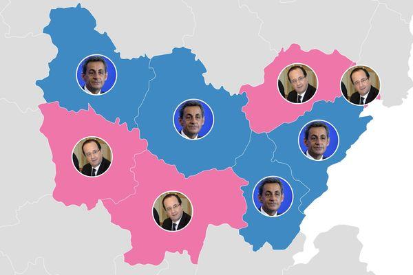 Quel candidat était arrivé en tête dans les départements de Bourgogne-Franche-Comté au premier tour en 2012 ?