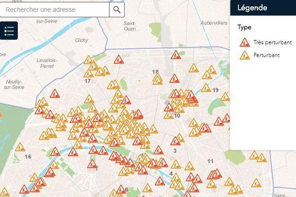 Carte des chantiers de voirie de plus d'une semaine sur les voies principales à Paris à la date du 11 mai 2019.