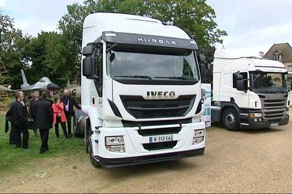 Des camions roulant au gaz naturel présentés aux transporteurs bourguignons et franc-comtois.