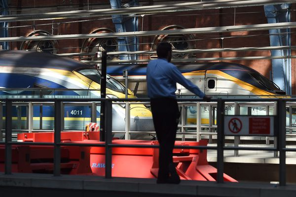 Des Eurostar en gare de Saint-Pancras à Londres.