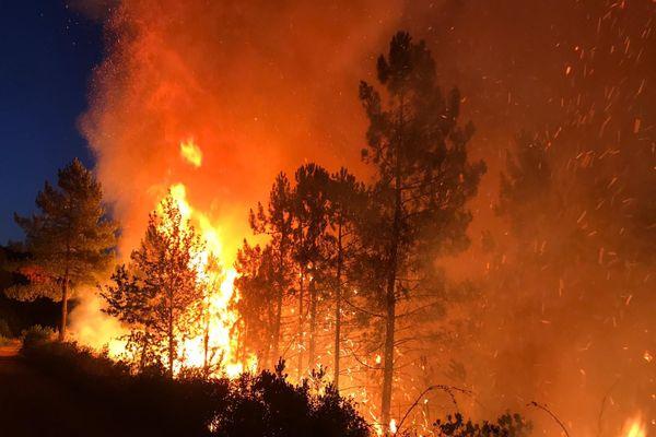Plusieurs départs de feu successifs ont eu lieu ce jeudi 30 juillet dans le massif forestier, à hauteur de la commune de Sainte-Cécile-d'Andorge (Gard).