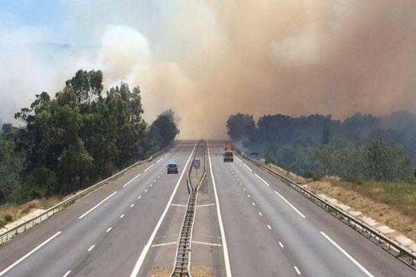 le feu de végétation s'est déclaré près de la frontière espagnole. le 18 juillet 2016