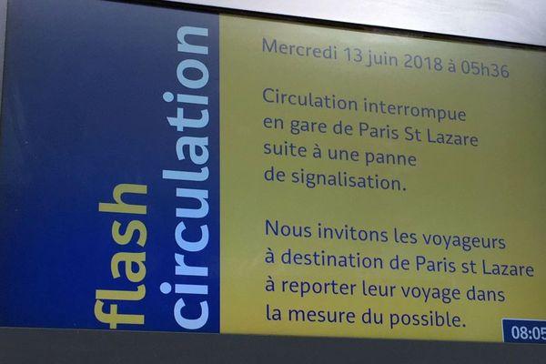 le message d'information aux clients de la SNCF en gare de Rouen le  mercredi 13 juin 2018