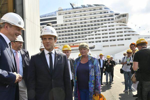 Emmanuel Macron, le Président de la République lors du lancement du paquebot Meraviglia à Saint-Nazaire, le 31 mai 2017