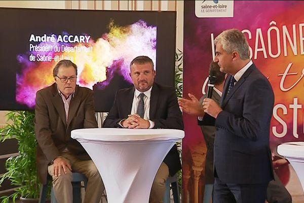 Le président du conseil départemental de Saône-et-Loire, André Accary, lors de la conférence de presse de présentation ce mardi 10 septembre.