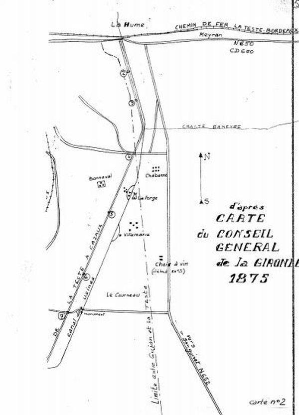 Le Canal des Landes et ses sept seuils sur une carte de 1875.