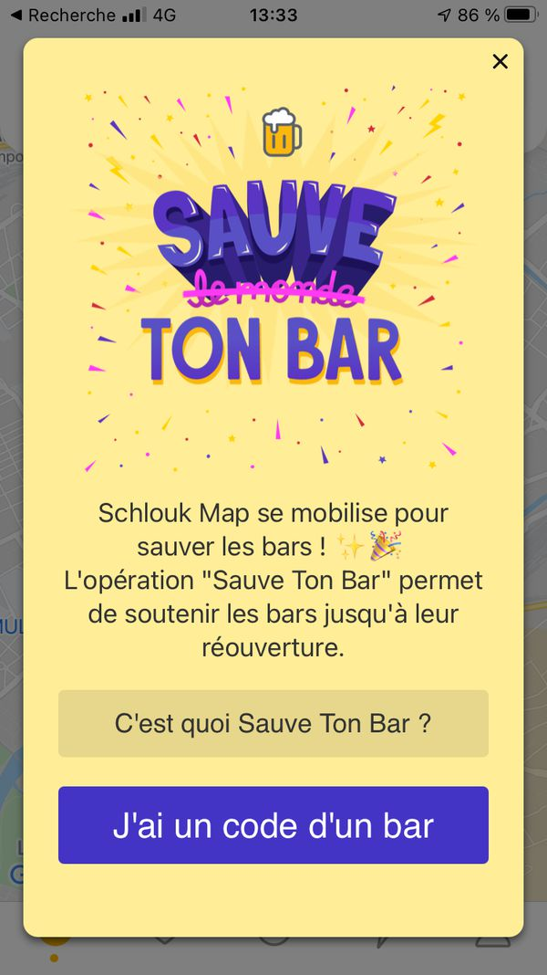 """L'opération """"Sauve ton bar"""" est active depuis le 1er mars sur l'application Schlouk Map."""