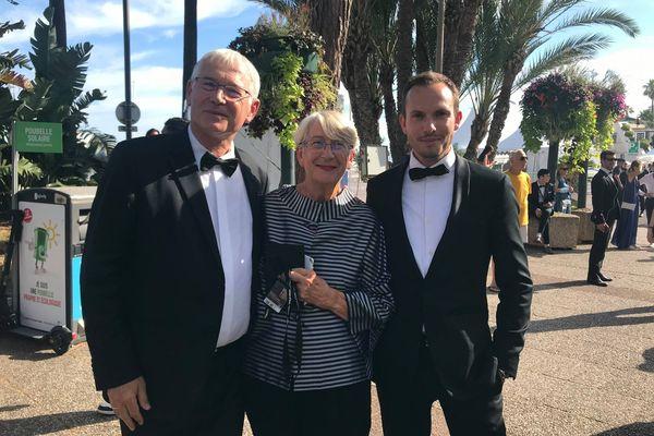 Marc Haaz, à droite, aux côtés de Martine et Jean-Marc Thérouanne lors du festival de Cannes 2021.