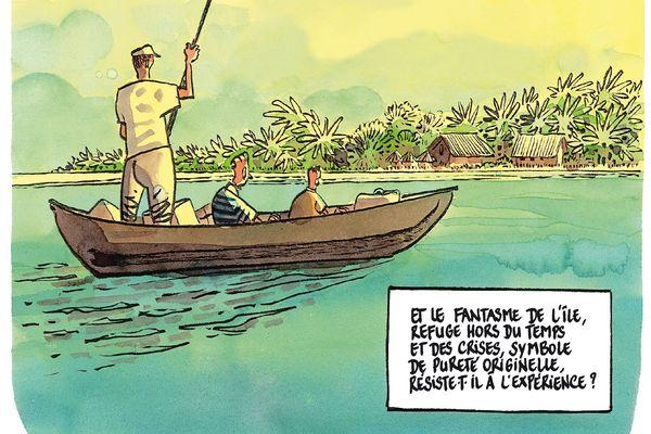 L'arrivée à l'île aux Nattes - Robinsons, Père & fils de Tronchet
