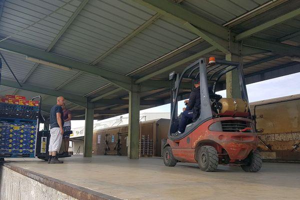 Perpignan, le train des primeurs pour Rungis à quai le 17 juillet 2019.