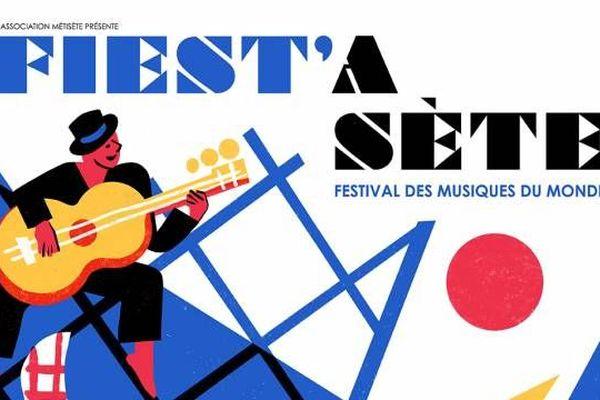 extrait de l'affiche Fiest'A Sète 2020 - 24ème édition - créée par Virginie Morgand
