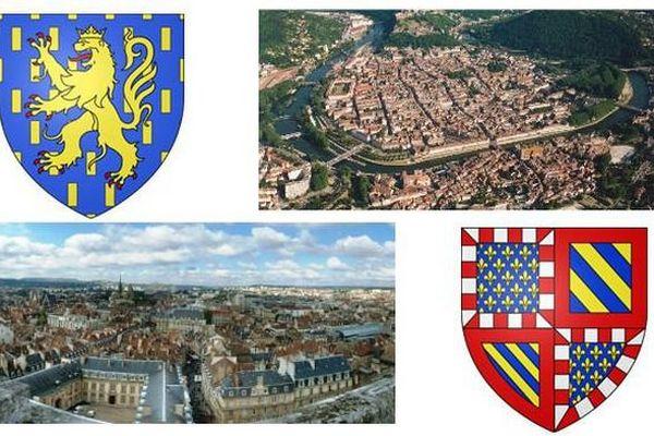 La future région Bourgogne-Franche-Comté sera formée de huit départements : la Côte-d'Or, la Nièvre, la Saône-et-Loire, l'Yonne, le Doubs, le Jura, la Haute-Saône, le Territoire de Belfort.