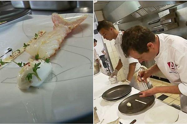 """Le chef Arnaud Lallement a réadapté sa recette de"""" langoustine royale nage crémée citron caviar"""" pour Air France."""