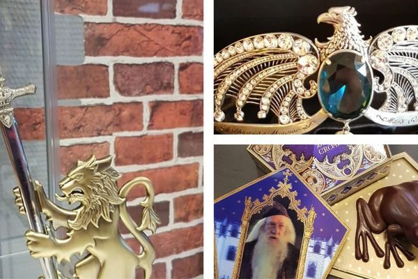 Artefacts décoratifs élégants et friandises (ici, des Chocogrenouilles) alternent sur les rayonnages.