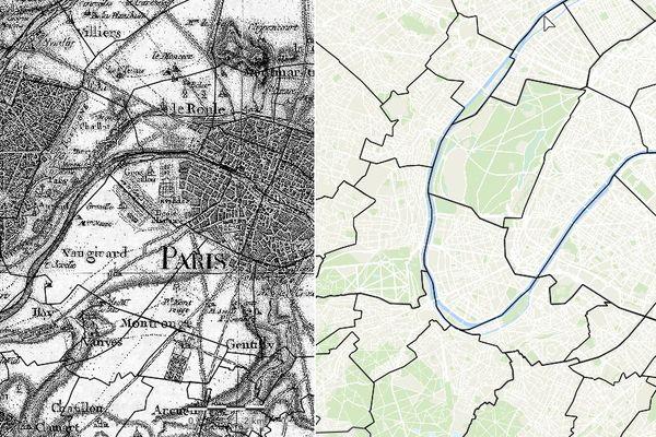 L'outil permet notamment de visualiser simultanément deux cartes côte à côte, de façon, pour les comparer (carte de Cassini (1747-1789) à gauche, et plan actuel (2020) à droite).