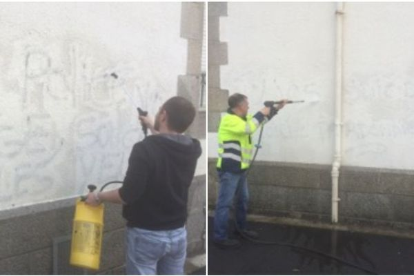 Les agents des services municipaux procèdent au nettoyage des tags sur les murs de la gendarmerie de Landivisiau