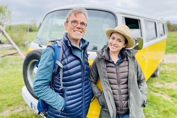 Sophie Jovillard accompagnée de Pierre Lazier, amoureux de la Margeride et Président de l'association nature et culture de Lajo.