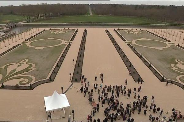 Arrivée de François Hollande au Domaine de Chambord pour l'inauguration des jardins à la Française