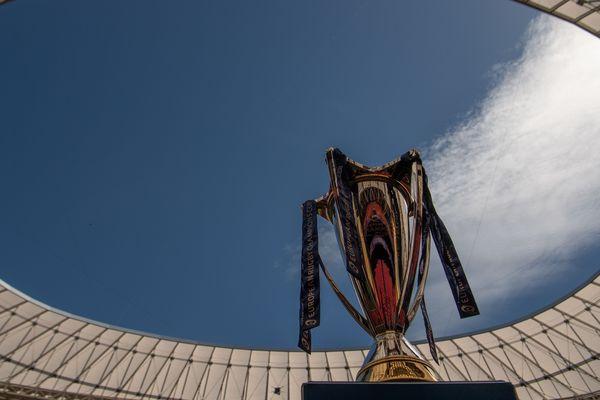 Le trophée de la Coupe d'Europe de Rugby au stade San Mames à Bilbao, le 11 mai 2018. La finale oppose le Leinster au Racing 92.