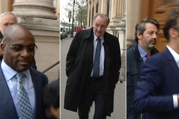 Charles-Kader Gooré, Gervais Martel (RC Lens) et des porteurs de l'offre Solferino à l'entrée du tribunal de commerce.
