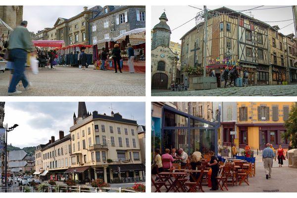 Les villes de Brive (en haut à gauche), Limoges (en haut à droite), Tulle (en bas à gauche) et Guéret (en bas à droite) ont été retenues pour le plac Action coeur de ville.