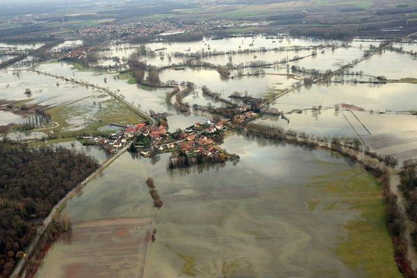 La plaine d'Alsace inondée. (photo de janvier 2018)