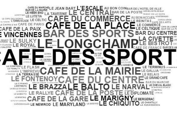 """Les noms les plus donnés à des bistrots, données compilées par Mathieu sur son site. Gros succès pour """"Café des sports""""."""