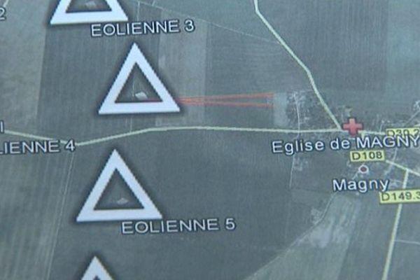 """Le projet d'installation de six éoliennes à Magny (Eure-et-Loir). Dont l'implantation est remise en question par le collectif """"Le recul des éoliennes""""."""