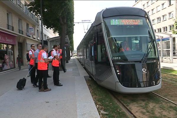 """Une vingtaine de rames circulent ce mercredi 16 juillet à Caen en """"situation commerciale""""."""