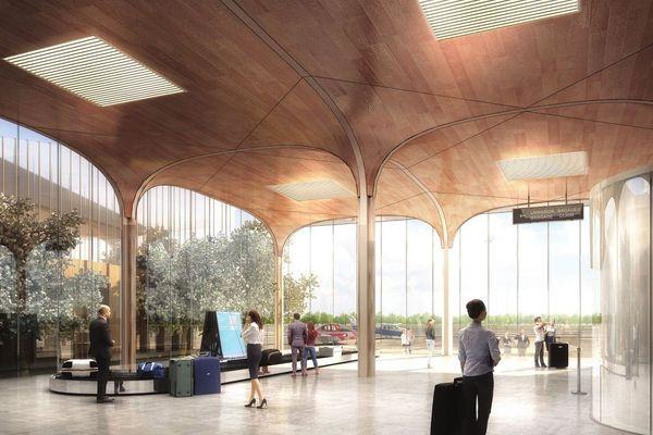 Une représentation de l'intérieur de la prochaine aérogare de l'aéroport Deauville-Normandie, qui doit voir le jour en 2022.