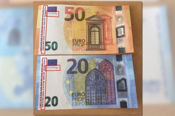 Des faux billets de 5, 10, 20 et 50 euros sont en circulation dans les Deux-Sèvres. Sous le drapeau européen, il n'y a pas le nom du patron de la Banque centrale européenne Mario Draghi mais on peut lire Movie Money.
