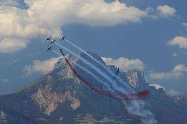 La Patrouille de France au Grenoble Air Show, au Versoud, le 7 juillet 2018