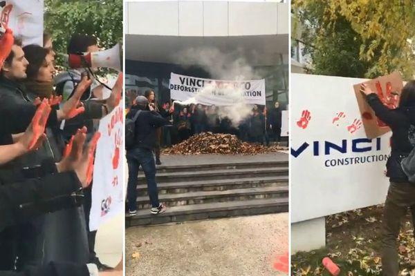 Action des militants anti-GCO ce vendredi au siège de Vinci, à Nanterre.