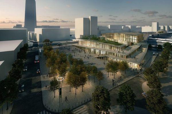 Visuel de la future gare hybride de Saint-Denis Pleyel