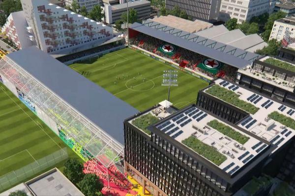 Une maquette qui présente la transformation du stade Bauer.