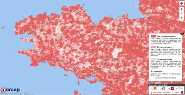 Carte couverture réseau SFR en Bretagne