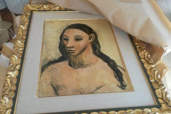 """Le tableau """"Tête de jeune fille"""", du peintre espagnol Picasso, saisi par les douanes françaises le 31 juillet 2015"""