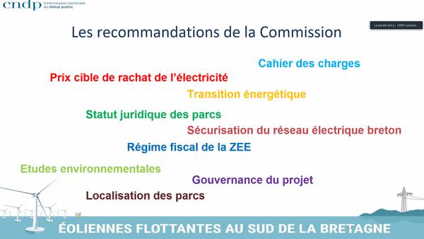 Les 9 recommandations de la commission auprès des maîtres d'ouvrage du projet de parcs d'éoliennes flottantes en sud Bretagne