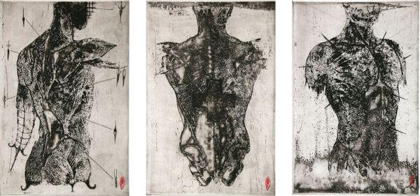 """Eau forte, """"Anatomie de l'ange I II III"""" de Luc Doerflinger, présentée à Nancy durant la deuxième édition de la Fête de l'Estampe."""