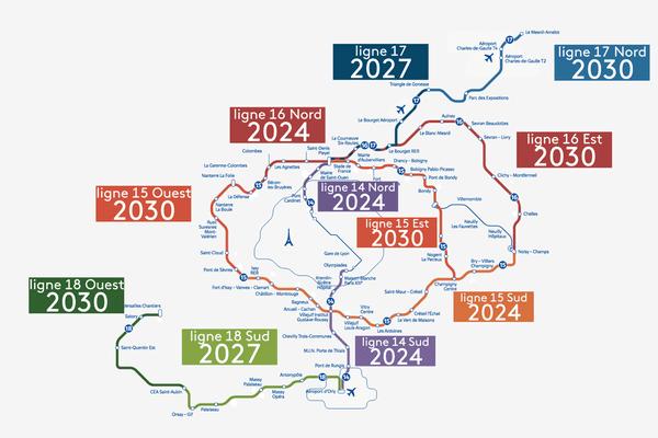 Le calendrier initialement prévu pour la construction des différentes lignes du Grand Paris Express.