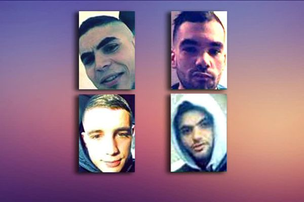 De gauche à droite et de haut en bas : Fredj, Khaled et Mehdi tués dans l'accident, Ryad grièvement blessé.