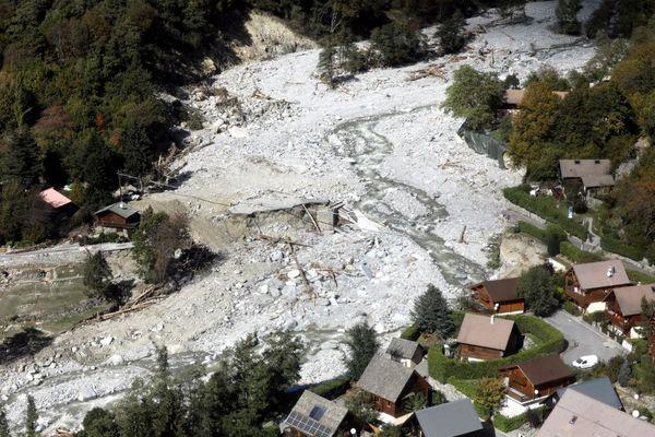 Le pont Maissa de Saint-Martin-Vésubie (Alpes-Maritimes) détruit pendant la tempête Alex et photographié le 14 octobre 2020