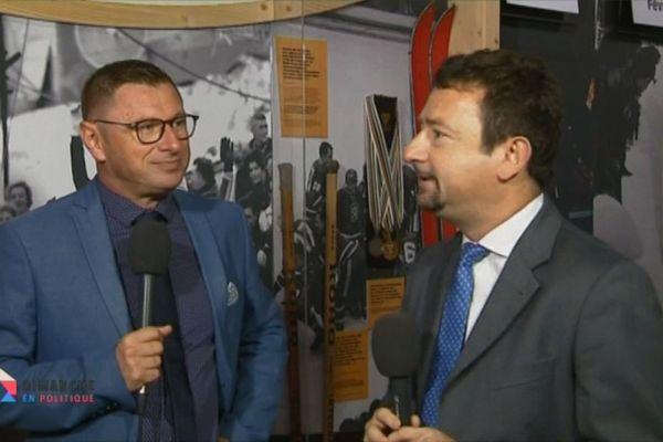 Fabrice Liégard de France 3 Alpes et son homologue de la TGR 3 Rai vallée d'Aosta Renato Willien