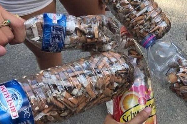 Un groupe de jeunes Chinonais a ramassé des mégots, pour participer au mouvement #FillTheBottle.
