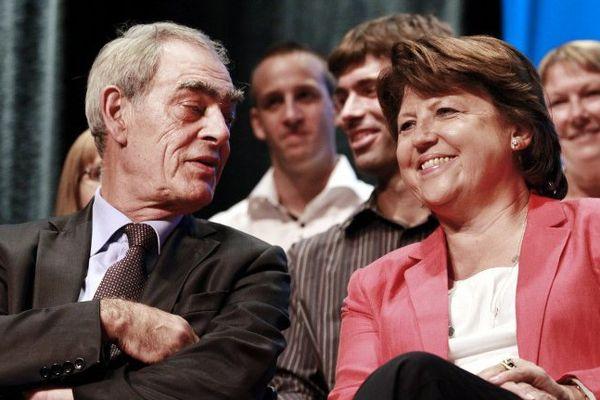 Henri Emmanuelli et Martine Aubry en 2011 à Mont-de-Marsan.