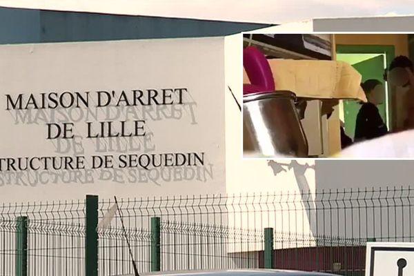 La maison d'arrêt de Lille-Sequedin. En médaillon, une image extraite de la vidéo.