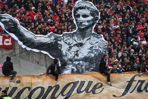 Les supporters du MHSC lors du derby entre Montpellier et Nîmes en février 2019.