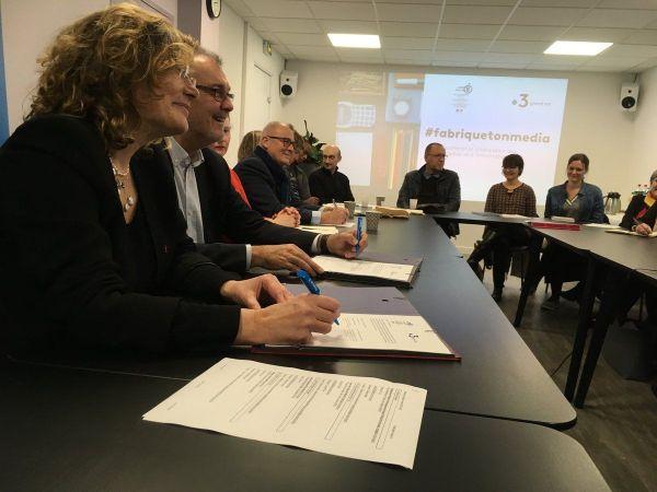 Lancement de l'opération #fabriquetonmedia et première réunion de travail avec la signature de la convention à France 3 en Lorraine